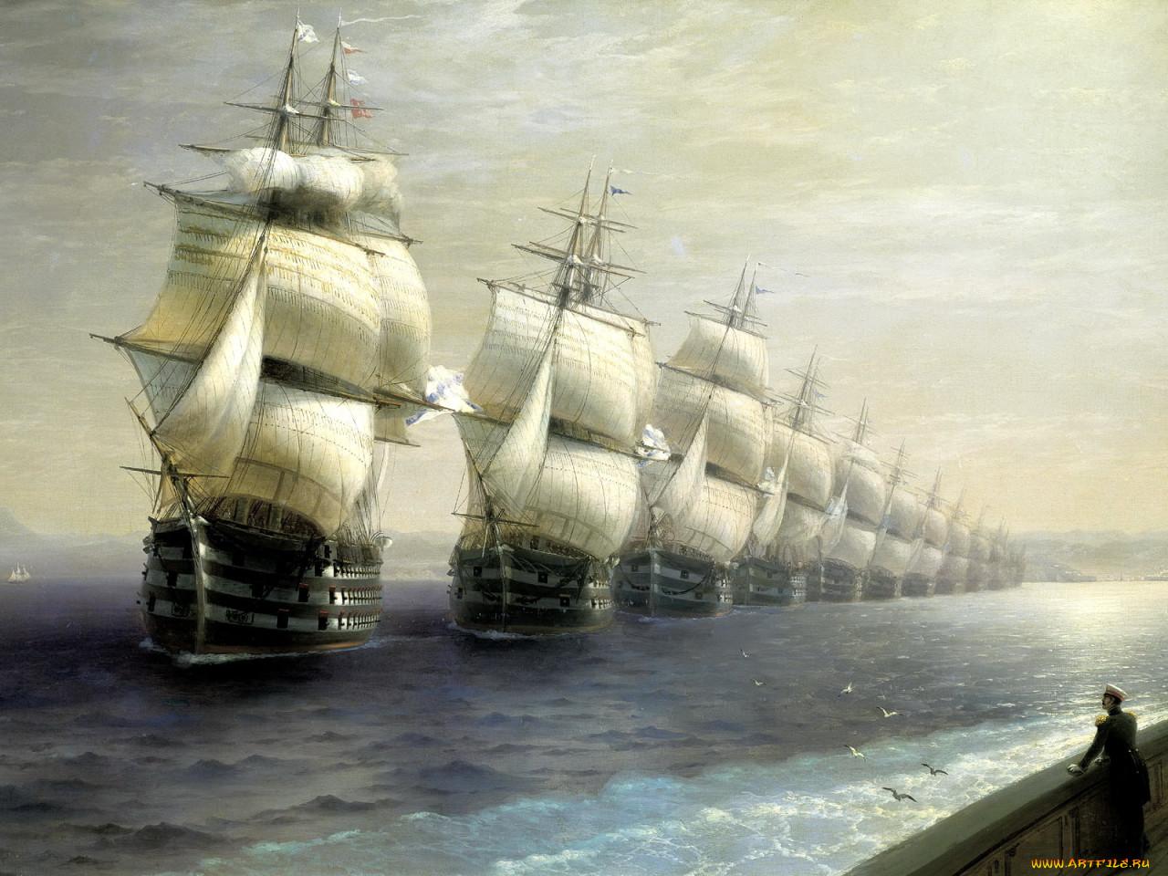 иван, айвазовский, смотр, Черноморского, флота, 1849, рисованные, море, парусники